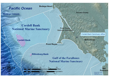 Main Cordell Bank map of the sanctuary